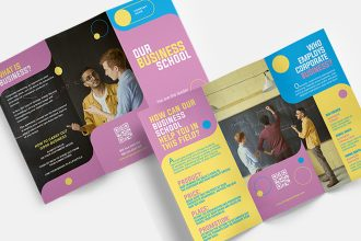 Free business school Trifold Brochure Template in PSD