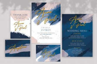 Free wedding invitations templates set photoshop