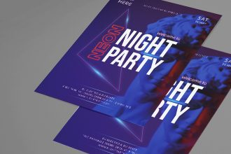 Free Neon Night Club Flyer PSD Template