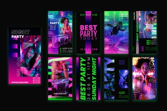9 Free Party Instagram Stories Template