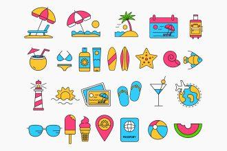 Free Vacation Icons Set