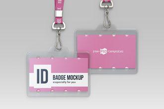 Free ID Badge Mockup