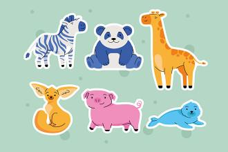 Free Cute Animals Stickers Set