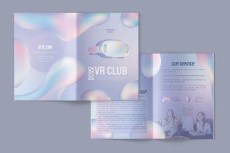 Free VR Club Bi-Fold Brochure PSD Template