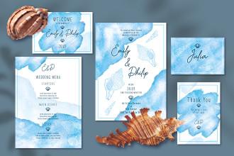 Free Wedding Invitation Ocean Design Templates