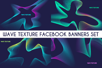 Free Wave Texture Facebook Banners Set