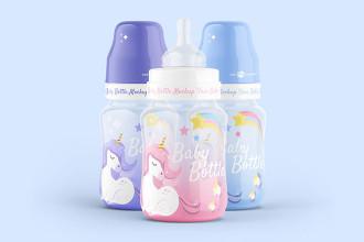 Free Baby Bottle Mockup