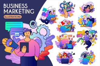 Free Business Marketing Illustration Set