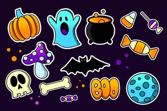 Free Halloween Sticker Set
