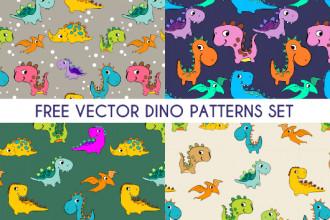 Free Vector Dino Patterns Set