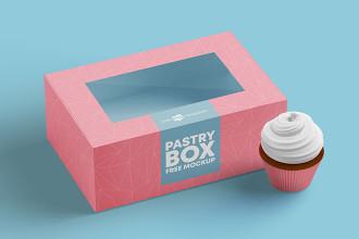 Free Pastry Box Mockup