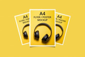 Free A4 Flyer Poster Mockup PSD Template