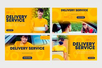 Free Delivery Banners Set in PSD