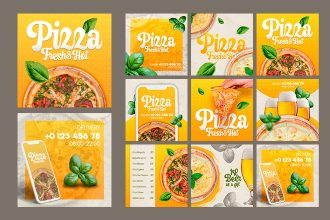 Free Pizza Instagram Posts Set in PSD