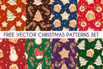 Free Vector Christmas Patterns Set