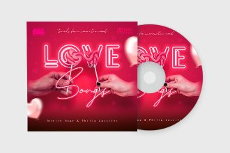 Free Love Songs CD Cover Template in PSD