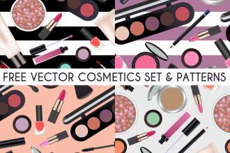Free Vector Cosmetics Illustration and Pattern Set